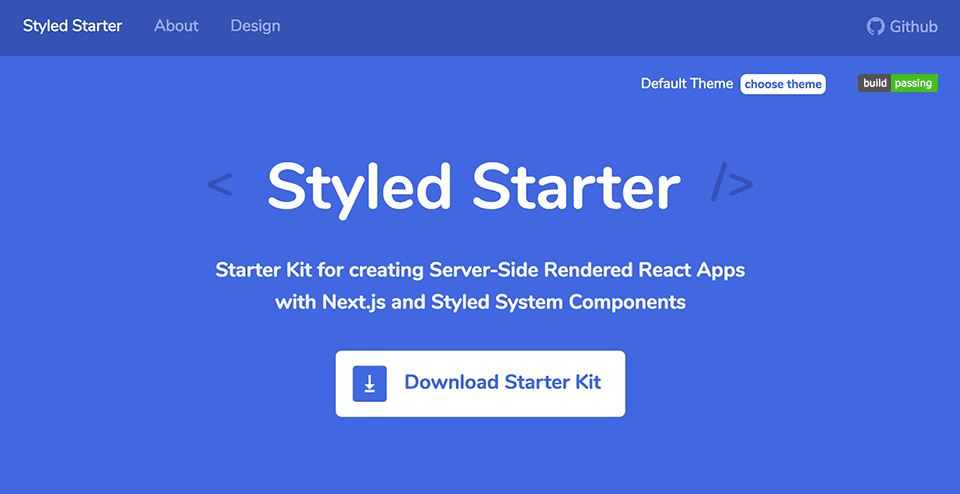 Styled Starter Project Page
